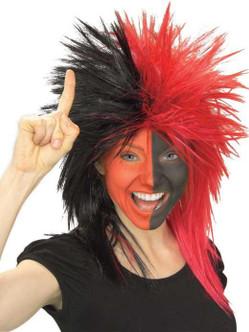 Black & Red Sports Fanatix Wig