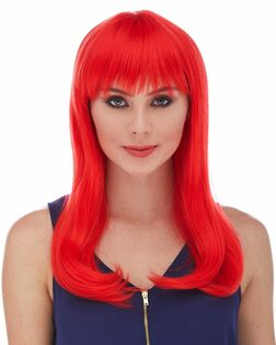 Hollywood Red Straight Wig with Bangs