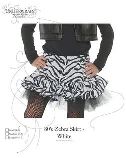 White Zebra Print Costume Skirt
