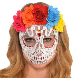 Day of the Dead - White Lace Skull Mask with Flower Crown