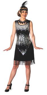 Black Flapper Dress Costume - Plus Size