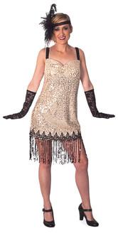 Flapper Dress Beige Costume - Plus Size