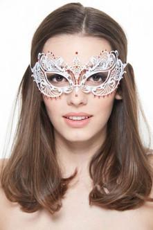 White & Red Laser Cut Venetian Eye-Mask