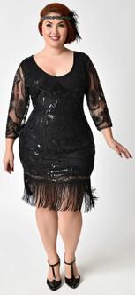 Margaux Black Flapper Dress - Plus Size