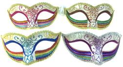 White Glitter Rainbow Venetian Eye-Mask - 4 Colours!