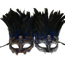 Skull Mask with Feathers Asst. In-store only