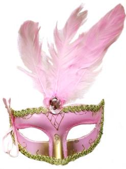 Pink Bow Plume Venetian-Like Mask
