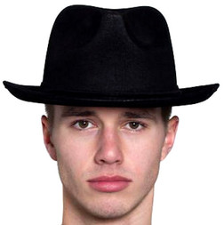 Leather-like Gangster Fedora - Black or Brown