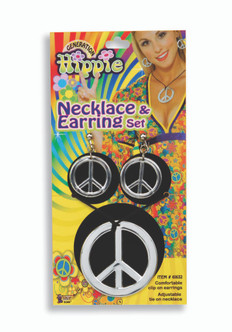 60s Peace Sign Necklace & Earing