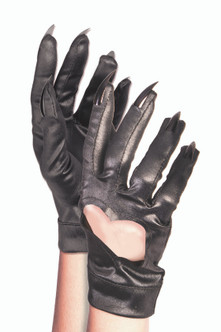 Faux Leather Like Wrist Gloves With Cat Claws