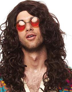 70s Hippie Rocker Brown Wig