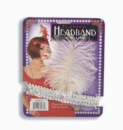 20s Silver Flapper Headband with White Plume