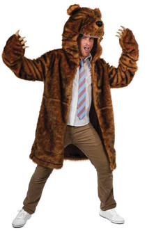 Super Deluxe Grizzly Bear Coat with Attached Head