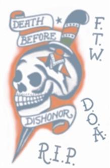 DBD Skull Vintage Tat Temporary Tattoos