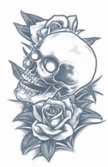 Skull & Roses Tat Temporary Tattoos
