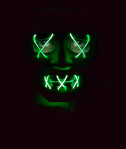 Black and Green Light-Up LED Mask - At The Costume Shoppe