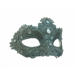 Lace/Gem Eye-Mask Silver at the Costume Shoppe
