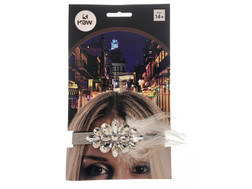 Flapper Headband Gems Silver at the Costume Shoppe