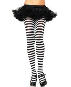 Black & White Plus Size Striped Tights