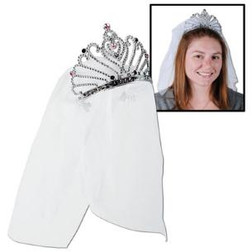 Bachelorette Party Bride To Be Tiara With Veil - At The Costume Shoppe