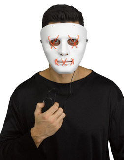Purge Style White Mask With Red LED Strings - At The Costume Shoppe