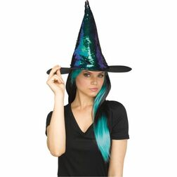 Teal Flippable Sequins Witch Hat - At The Costume Shoppe