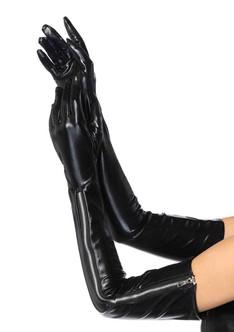 Wet Look W/ Zipper Gloves