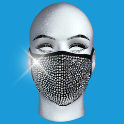 Silver Crystal On Black Mask at the Costume Shoppe