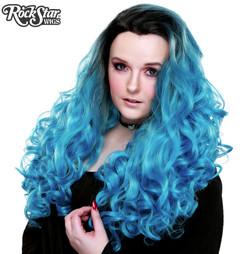 Rockstar Wigs - Lace Front Curly Dark Roots - Aqua Mix