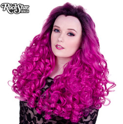 Rockstar Wigs - Lace Front Curly Dark Roots - Fuchsia Rose