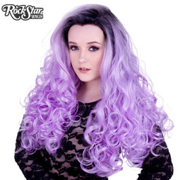 Rockstar Wigs - Lace Front Curly Dark Roots - Lavender and White Mix