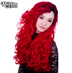 Rockstar Wigs - Lace Front Curly Dark Roots - Red