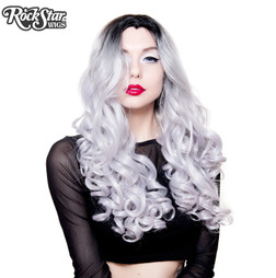 Rockstar Wigs - Lace Front Curly Dark Roots - Silver