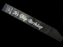 Black Its My Birthday Party Sash