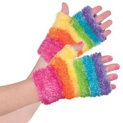 Rainbow Furry Glovelettes - Kid's