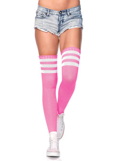 Neon Pink Stripe Athletic Thigh Highs