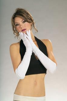 Long White Nylon Gloves