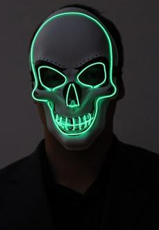 Green Skull Neon Light Up Purge Mask