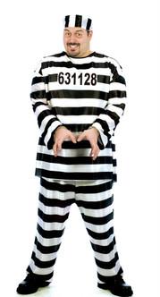 Men's Jailbird Plus Size Convict Costume