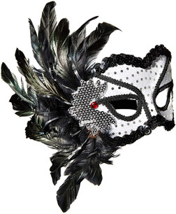 Black and Silver Feather Masquerade Mask