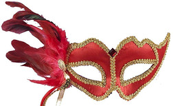 Red Side Plume Italian Mask