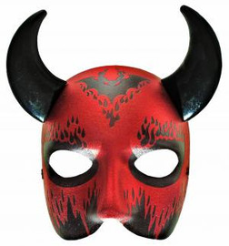 Demon D'Evil Costume Face Mask with Horns