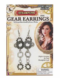 Steampunk Gear Silver Earrings