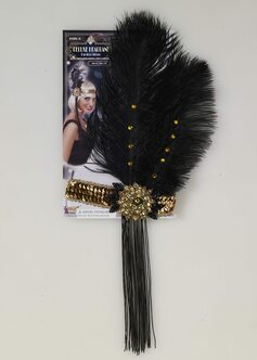 Gold Sequin Feather Headband - Roaring 20's