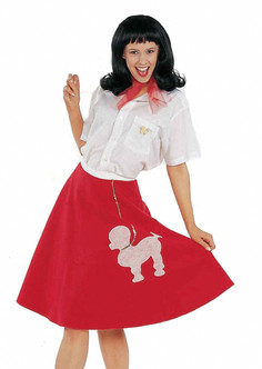1950s Red Poodle Skirt Costume Piece