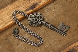 Large Gear Key Steampunk Necklace