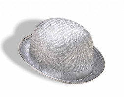 Silver Glittery Bowler Hat