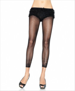 Footless Capri Tights with Crochet Ankle