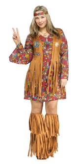 60s/70s Peace and Love Hippie Costume - Plus Size