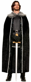 Black Heavy weight Fur Trimmed Medieval Cape